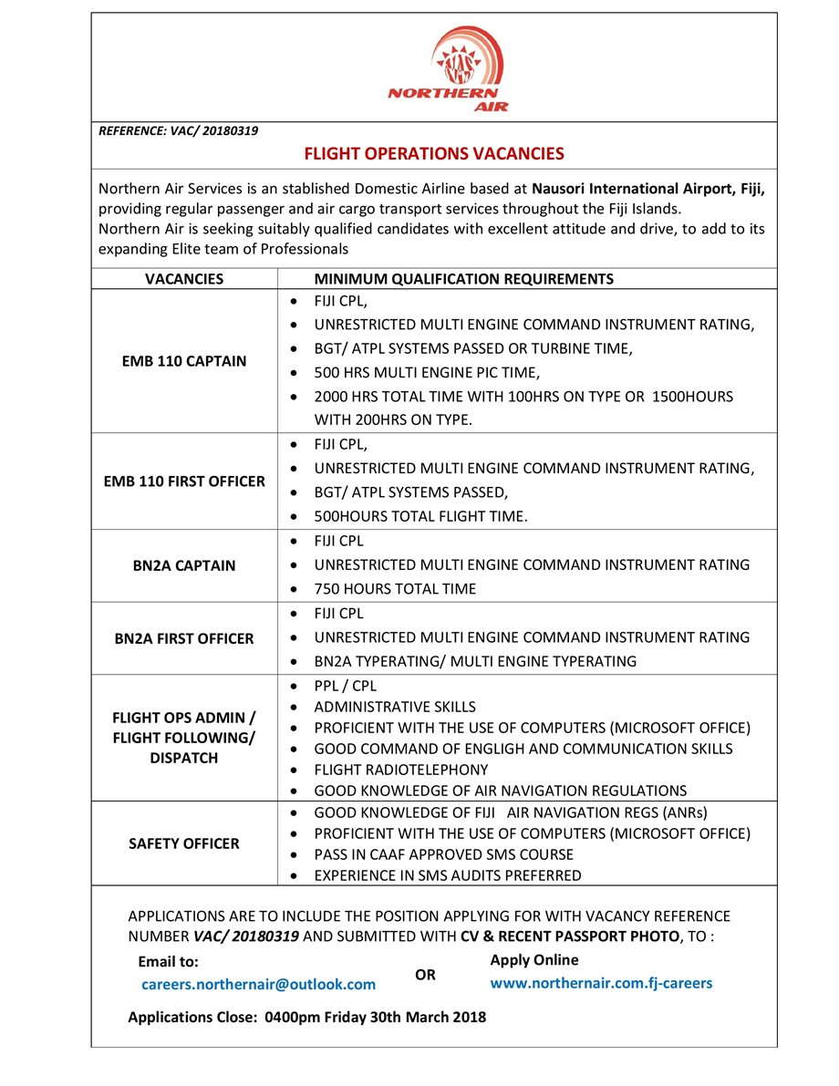 Northern Air Flight Operations Vacancies